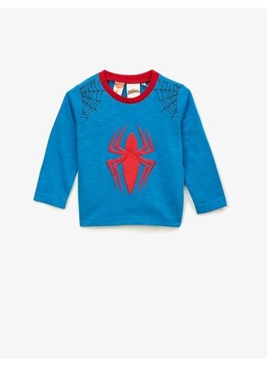Koton Pamuklu Spiderman Lisansli Kabartma Baskili Bisiklet Yaka Uzun Kollu Tisört Lacivert